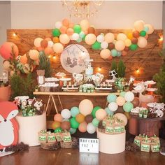 Baptism Decorations, Birthday Decorations, Table Decorations, Fox Party, Baby Shawer, Baby Birthday, Birthday Ideas, Event Planning, First Birthdays