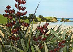 Kirsty Nixon New Zealand contemporary landscape artist, detailed realist paintings, Rangitoto, NZ beach scenes, coastal New Zealand Art, Nz Art, State Of Arizona, Colorful Paintings, Contemporary Landscape, Beach Scenes, South Pacific, Beach Art, Coastal