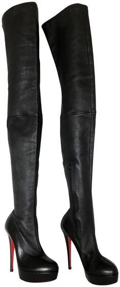 Christian Louboutin Black Gazolina Leather Platform Thigh High Over Knee Heel Toe Red Sole Italy Boots/Booties Size EU (Approx. Leather Boots, Red Leather, Heeled Boots, Bootie Boots, Crotch Boots, Fashion For Women Over 40, Red Sole, Platform High Heels, Red Bottoms