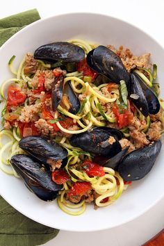 Mussel and sausage zucchini pasta