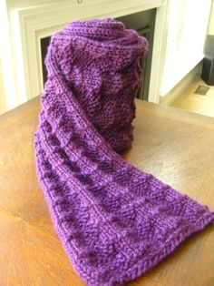 Purple Pyramid Loom Knitted Scarf by keepsmesane1972 on Etsy
