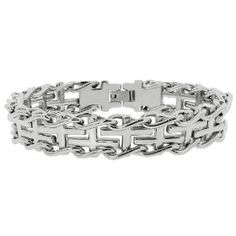 "Men's Stainless Steel Railroad with Cross Insets Bracelet, 8.5"", (things that --really-- help arthritis)"
