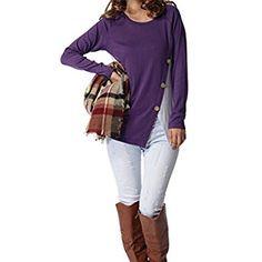 Levaca Womens Raglan Long Sleeve Button Trim Waist Line Patchwork Tunic Top Shirts at Amazon Women's Clothing store: