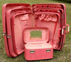pink retro frilly suitcases