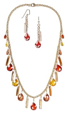 I like the earrings    Single-Strand Necklace and Earring Set with Swarovski Crystal Beads and Cubic Zirconia Drops
