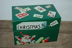 Christmas Recipe Box Vintage Holiday Tin Box by JunkyardElves