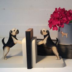 Border terrier bookends by Alice and the Thimble