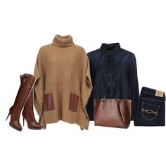 """Camel poncho"" by lenaick on Polyvore"