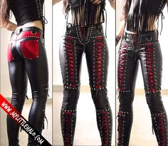Black & red Lace up Metal Pants - My Little Halo http://www.mylittlehalo.bigcartel.com/