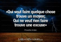 «Qui veut faire quelque chose trouve un moyen. Qui ne veut rien faire trouve une excuse» – Proverbe Arabe Positive Mind, Positive Attitude, Positive Quotes, Motivational Quotes, Inspirational Quotes, The Words, Cool Words, Words Quotes, Life Quotes
