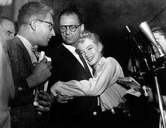 Marilyn and Arthur Miller at Sutton Place during a press conference to announce their plans to marry, June 22nd 1956.