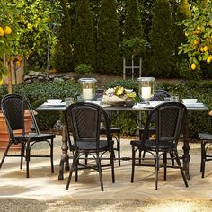 La Coupole Indoor/Outdoor Dining Table, Rectangular Black Granite Top | Williams-Sonoma