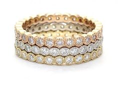 18kt Gold and Diamond Tri-colored Eternity Bands...    I am Obsessed!