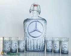 Mercedes csatos dísz- és használati italos üveg röviditalos poharakkal merci rajongói ajándék (Biborvarazs) - Meska.hu Subaru, Mazda, Ferrari, Bookends, Toyota, Bmw, Decor, Decoration, Decorating