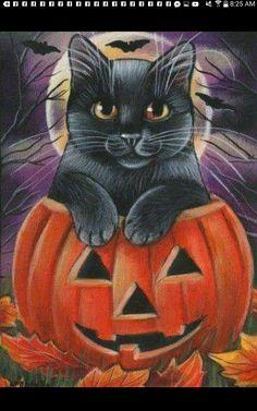 Diamond Painting Black Cat Jack-o-Lantern Kit Offered by Bonanza Marketpla. Retro Halloween, Halloween Bats, Holidays Halloween, Halloween Themes, Happy Halloween, Halloween Decorations, Halloween Black Cat, Halloween Stuff, Halloween Painting