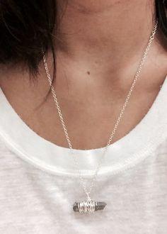 Raw Silver Quartz Necklace by SweetLittleGem on Etsy