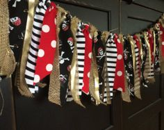 Items similar to Pirate Birthday Party Fabric Rag Tie Garland Decoration, Pirate Rag Tie Banner, Pirate Birthday Bunting Backdrop Photo Prop on Etsy Birthday Bunting, Pirate Birthday, Pirate Theme, Rag Garland, Garland Decoration, Fabric Garland, Bunting Banner, Banner Backdrop, Fiestas