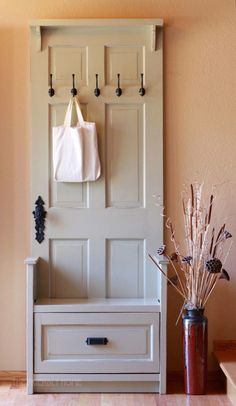 Reuse old door! Make a useful entry bench!