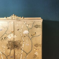 Painted Chinoiserie drinks cupboard, always full! In my Shropshire Farmhouse.
