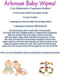 Have you seen the harmful ingredients in commercial baby wipes? Create your own PURE, SAFE & Beneficial Arbonne baby wipes at home using ABC Baby products. Heres how...Check out more great products @ courtneysmethers.myarbonne.com email me at courtney@myarbonne.com to find out how you can save on all of your pure, safe and beneficial products!