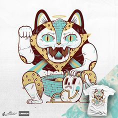 Shop graphic tees, artwork, iphone cases, and more designed by the worldwide Threadless community. Maneki Neko, Lucky Charm, Graphic Illustration, Cat Illustrations, Creative Inspiration, Dumb And Dumber, Greeting Cards, Kitty, Disney Characters