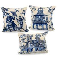 Blue Needlepoint Chinoiserie Pillows