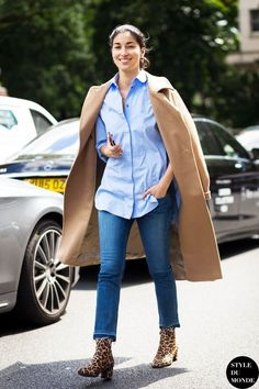 Street Style: Get Caroline Issa's Camel Coat And Leopard Boot Look CACO BWRB