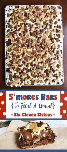 Smores Bars To Feed A Crowd Easy Desserts Sheet Pan Dessert Recipe Dessert Chocolate Smores Campfire Food Hersheys Chocolate Dessert Bars Marshmallow Desserts. Mini Desserts, Marshmallow Desserts, Desserts For A Crowd, Cooking For A Crowd, Party Desserts, Easy Picnic Desserts, Budget Cooking, Party Recipes, Bbq Recipes For A Crowd