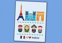 **Paris Icons - PDF cross stitch pattern** This is a super funny pattern for all the Paris lovers, featuring the icon places and characters: the