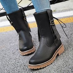 Plain Flat Round Toe Date Outdoor Mid Calf Flat Boots Flat Boots, High Heel Boots, Heeled Boots, Ankle Boots, High Heels, Fashion Boots, Chelsea Boots, Stylists, Toe