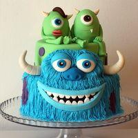 Monster Twins Monster Cakes, Movie Cakes, Disney Pixar Movies, Mike Wazowski, Monsters Inc, Amazing Cakes, Fondant, Cake Decorating, Wedding Cakes