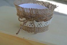 Burlap cupcake wrapper wedding cupcake by CreationsByBingBong