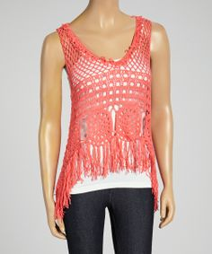 Coral Crocheted Fringe Tank