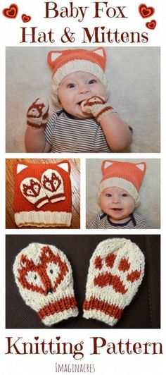 Adorable Baby Fox Hat and Matching Mittens Knitting Pattern – Knitting patterns, knitting designs, knitting for beginners. Knitting For Kids, Knitting For Beginners, Baby Knitting Patterns, Knitting Projects, Knitting Ideas, Hat Patterns, Mittens Pattern, Knit Mittens, Knitted Hats