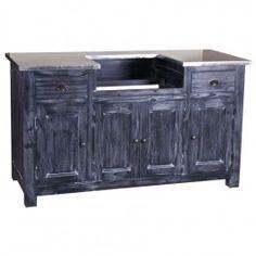 meuble sous vier 2 tiroirs 4 portes plateau zinc rocamadour z