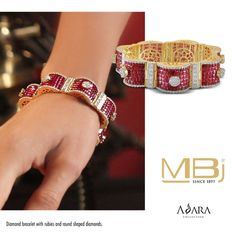 Best Diamond Bracelets : Beautiful bracelet with rubies and round shaped diamonds from ADARA collection of MBj. Modern Jewelry, Fine Jewelry, Gold Jewelry, Ruby Bangles, Diamond Bracelets, Ruby Bracelet, Diamond Jewellery, Bangle Bracelets, Best Diamond