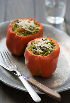 Kale Pesto Couscous Stuffed Peppers, from Love and Olive Oil.