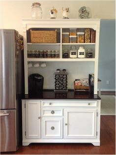 Upcycled hutch into cute coffee bar for the kitchen