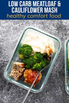Low carb meatloaf and cauliflower mash meal prep is healthy comfort food. Makes five delicious servings perfect for a low carb lunch. #sweetpeasandsaffron #mealprep Low Carb Meal Plan, Low Carb Lunch, Lunch Meal Prep, Meal Prep Bowls, Healthy Comfort Food, Healthy Meal Prep, Low Carb Recipes, Healthy Recipes, Healthy Desserts
