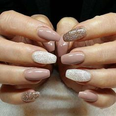 Nude, gold and silver nails
