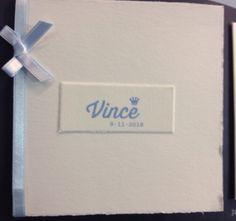 Oudhollands papier, letterpress gedrukt, lint met strikje , geboortekaartje, birth announcements