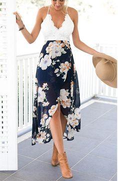 Lace Top Floral Maxi Dress – Untwine It