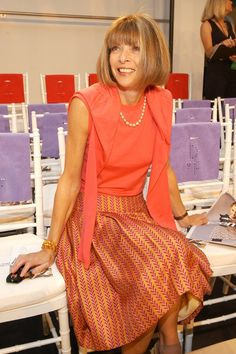 Anna Wintour at the Diane Von Furstenberg Spring 2004 show in New York City.