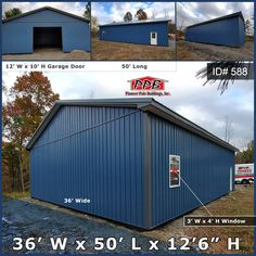 "Color your building like the ocean and see the storage power within. This building has one garage door but don't underestimate whats beneath the surface. 36' W x 50' L x 12' 6"" H (ID# 588) Siding Color: Ocean Blue Roofing Color: Charcoal Trim Color: Charcoal (2) 12' x 10' Residential Classic Raised Short Panel Insulated Garage Door A Quote Today! #oceanblue #big #onedoor #garage #charcoal #underestimate Garage Door Insulation, Garage Doors, Pole Buildings, Siding Colors, Beneath The Surface, Garage Design, Trim Color, Garages, Charcoal"