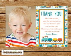 Train Thank You Card with Photo | Birthday Train Thank You Card | Photo Thank You Card | Train Thank You Card | Train Birthday Party by ThePaperGiraffeShop on Etsy