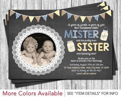 Twins Birthday Invitation - Rustic Birthday Invitation - Boy and Girl - Vintage Chic Chalkboard Burlap Yellow and Blue by PuggyPrints