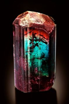 Tourmaline are famous for multiple colors in a single gemstone, including this unique crystal from Barra de Salinas, Coronel Murta, Jequitinhonha Valley, Minas Gerais, Brazil.