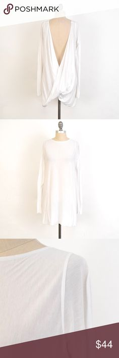 Hard Tail Soft Jersey Draped Open-Back Tunic Super soft cotton & modal blend jersey tunic from Hard Tail. White and semi-sheer. Wide neckline and draped open back. Long, slim sleeves. Tunic length. Size L. Hard Tail Tops Tees - Long Sleeve