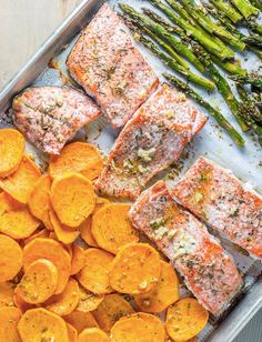Salmon with Sweet Potato and Asparagus