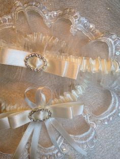 "The "" Corinne "" Ivory Garter Set. Ships worldwide. Wedding Garters of distinction. https://www.etsy.com/listing/200574788/the-corinne-ivory-garter-set?ref=shop_home_active_19"